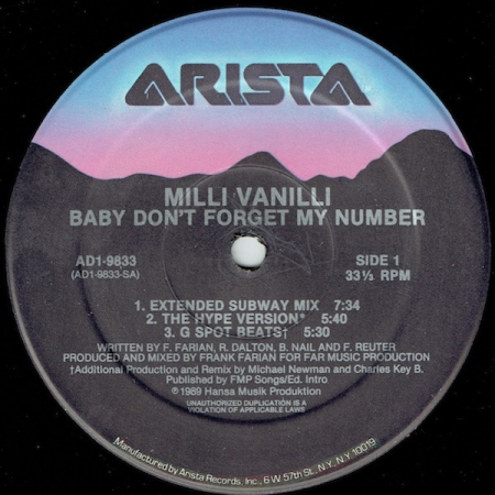 Milli Vanilli ‎– Baby Don't Forget My Number